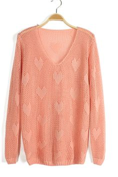 Heart Crochet hollow thin V-neck sweater_Sweaters_CLOTHING_Voguec Shop