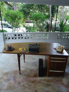 Mid Century Desk Stow Davis Curved Back Walnut and Oak Desk Vintage Furniture | eBay