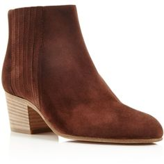 Vince Haider Mid Heel Booties (€240) ❤ liked on Polyvore featuring shoes, boots, ankle booties, saddle, chelsea boots, nubuck boots, vince boots, mid-heel boots and chelsea bootie