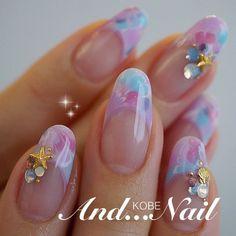 大人ピーコックフレンチネイル❤️ #夏 #ハンド #フレンチ #ミディアム #パステル #ジェルネイル #お客様 #白川麻里★神戸アンドネイル #ネイルブック Classy Nails, Fancy Nails, Simple Nails, Trendy Nails, Gel Nail Art, Nail Art Diy, Diy Nails, Beautiful Nail Designs, Cool Nail Designs