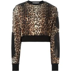 Givenchy Leather Panel Cropped Jumper ($1,060) ❤ liked on Polyvore featuring tops and sweaters