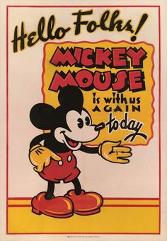 Mickey Mouse poster, early USStockUnframed 41 x 28 in. x 71 cm)Framed 41 x 28 in. x cm)Mickey Mouse's eyes have had various s Mickey Mouse Vintage, Mickey Mouse Movies, Mickey Mouse Y Amigos, Mickey Mouse Cartoon, Mickey Mouse And Friends, Mickey Minnie Mouse, Walt Disney, Disney Art, Cartoon Disney