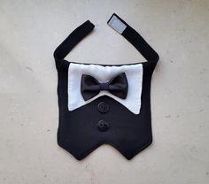 Dog Tuxedo, Dog Wedding Bandana, Dog Wedding Suit, Pet Bandana for wedding/formal occasions with a Choice of Bow Tie Color