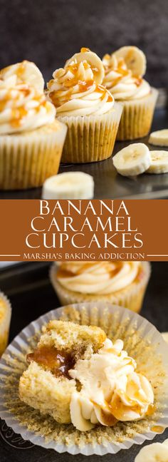 Banana Caramel Cupcakes - Deliciously moist and fluffy banana cupcakes, filled with homemade banana caramel, and topped with a sweet banana caramel frosting!
