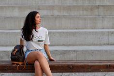Fashion Blog, Gucci tshirt Shirt Dress, T Shirt, My Outfit, Gucci, Outfits, Tops, Dresses, Blog, Fashion