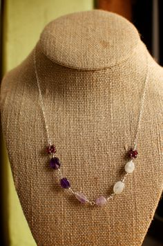"Sterling Silver Amethyst Rainbow Moonstone Oval Garnet Round Chain Necklace 18"", $20.00"