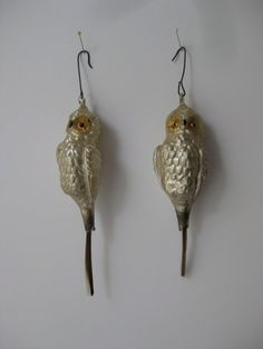 Antique German Glass Owl Ornaments