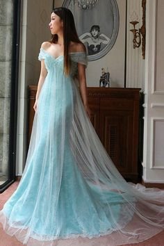 Elegant Prom Dresses, Mint Tulle Lace Off The Shoulder Mermaid Evening Dresses Elegant Prom Dress Shop for La Femme prom dresses. Elegant long designer gowns, sexy cocktail dresses, short semi-formal dresses, and party dresses. Modest Prom Gowns, Elegant Prom Dresses, Formal Dresses For Weddings, Tulle Prom Dress, Prom Dresses Blue, Prom Party Dresses, Party Gowns, Tulle Lace, Dress Lace