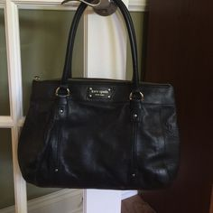 "Kate Spade black handbag Kate Spade shoulder bag all leather with dust bag excellent condition. Inside clean, no scratches or marks on outside, like new.  10.5""H X 13.5""W X 5.5""D drop length handheld 10"". Gold hard wear kate spade Bags Shoulder Bags"
