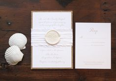 Rustic burlap and silk letterpress wedding invitation