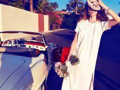 white dress, white convertible car