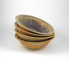 cereal bowls soup bowls pasta bowls set of 4 rust by LightaFire, $40.00