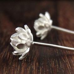 tiny lotus flower earrings