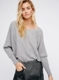 Too Little Too Late Cashmere Dolman | So soft dolman style sweater featuring a wide band at the hem and a drapey silhouette with relaxed sleeves.