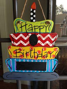 Door Hanger HAPPY BIRTHDAY door hanger/decor by KnockinOnWood