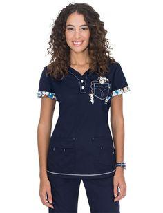 Koi Tokidoki Mozzarella And Friends Katrina Scrub Top Cute Scrubs Uniform, Scrubs Outfit, Classy Work Outfits, Fall Outfits, Stylish Scrubs, Koi Scrubs, Uniform Advantage, Womens Scrubs, Medical Scrubs