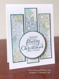 handmade christmas card flurry of wishes by brian king luv the use of the snowflakes to make a background pattern in the three panels stampin up - Mint Christmas Cards