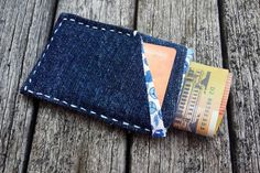 Slim Denim Wallet  Front Pocket Wallet  Compact Denim by MayCheang