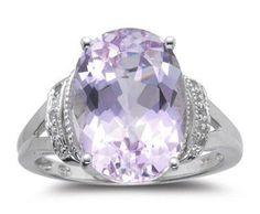 ❤ Diamond amp; 7.00 Cts Kunzite Ring in 14K White Gold ❤