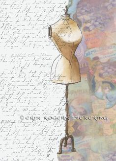 Vintage Dress Form Collage. Mixed media. Available for book cover use. Great for Indie authors and self-publishers