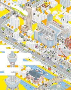 デザインチーム「GROOVISIONS」の展覧会『GROOVISIONS キタ 2011』が、10月5日より大阪・茶屋町のロフトフォーラムと大阪・梅田のDMO ARTSで同時開催… Architecture Site Plan, Architecture Drawings, Architecture Diagrams, Architecture Graphics, Architecture Portfolio, Axonometric Drawing, Presentation Board Design, Plaza Design, Urban Design Diagram