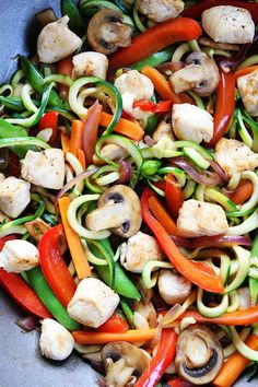 Easy Chicken Zucchini Noodle Stir Fry Recipe on twopeasandtheirpod.com You only need 30 minutes to make this healthy and delicious dinner! Kids love it too! Stir Fry Zucchini Noodles, Zucchini Noodle Recipes, Chicken Zucchini, Healthy Zucchini, Vegetable Recipes, Chicken Recipes, Vegetable Dish, Zucchini Spaghetti, Garlic Noodles