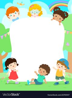 Blank playground template happy kids poster design vector image on VectorStock Frame Border Design, Boarder Designs, Cartoon Sun, Cartoon Kids, Creative Poster Design, Creative Posters, Train Crafts, Poster Background Design, School Frame