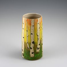 Vase with underglaze pencil design by Jennifer C. Pencil Design, Ways Of Seeing, Vase, Mugs, Create, Tableware, Artwork, Inspiration, Home Decor