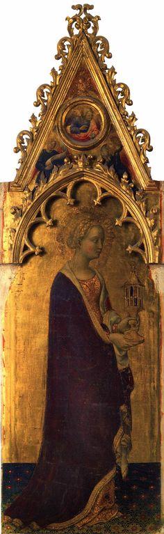 Gentile da Fabriano Quaratesi Polyptych: St Mary Magdalen  1425  Tempera on panel, 197 x 57 cm  Galleria degli Uffizi, Florence