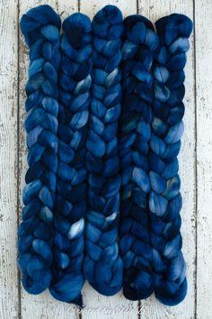 Sapphire - Hand dyed Superfine Merino combed top. Good for spinning yarn, felting, blending & weaving.