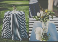 cocktail tables with striped linens