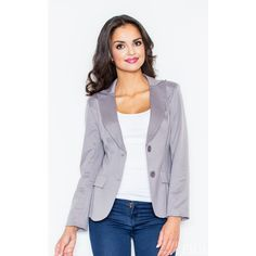 FIGL Grey Fitted Waist Blazer Jacket (60 AUD) ❤ liked on Polyvore featuring outerwear, jackets, blazers, grey, grey jacket, grey blazer, gray jacket, gray blazer and blazer jacket