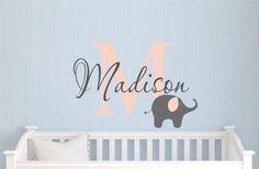 Childrens Name Elephant Wall Decal - Girls Name Vinyl Wall Decal - Baby Nursery Wall Decal - Elephant Vinyl Wall Art by JustTheFrosting on Etsy https://www.etsy.com/listing/151902937/childrens-name-elephant-wall-decal-girls