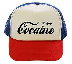 Enjoy Cocaine Drugs Trucker Hat Cap red white blue