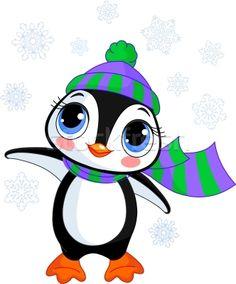 Cute winter penguin with hat and scarf - ilustração de vetor por Anna Velichkovsky (Dazdraperma) - Stockfresh #425331