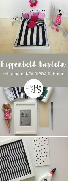Puppenbett IKEA Hack: Ein Barbie Traum Did you discover the IKEA RIBBA frame at first glance? We are excited about this IKEA RIBBA hack for the dollhouse and the children are excited about their new d Barbie Dream, Barbie Doll House, Pink Barbie, Barbie Furniture, Dream Furniture, House Furniture, Diy Hanging Shelves, Diy Bebe, Ikea Bed