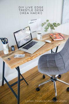 DIY Live Edge Desk With Trestle Legs  I Canu0027t Believe Itu0027s An Ikea Hack  It  Looks So Great!Source By Remodela