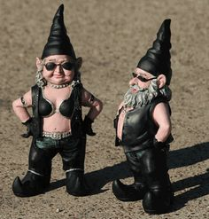Amazing Biker Garden Gnome Couple 15 Inch