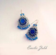 Chandelier beading earrings. Beaded earrings.Long earrings.Victorian retro style earrings.Filigrees earrings.Blue beads earrings.
