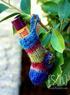 Great last minute gifts you can hang on the tree! So quick and easy, you can stitch up several in an evening using leftover scraps of colorful sock yarn. Perfectly sized for lip balms, chewing gum, coins or other small treasures.