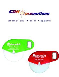 Fantastic pizza cutter bottle opener promotional product!