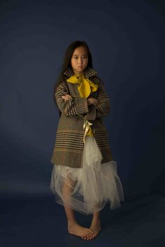 Sweet combination of tweed, satin and tulle for a 2013 kids fashion party look