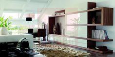 Mueble de salon en roble y laca mate blanca - Muebles Marian