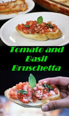 Tomato and Basil Bruschetta is a starter dish from Italy consisting of grilled bread , topped with tomatoes, olive oil, salt and oregano. Variations may include toppings of tomato, vegetables, beans or cheese. Bruschetta is usually served as a snack or appetizer or served with any pasta dish.