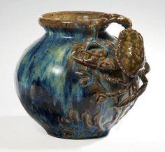 PIERRE ADRIEN DALPAYRAT Vase with applied crab