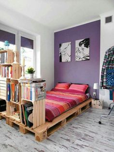 Pallet bed and bookshelves, great for a college student.