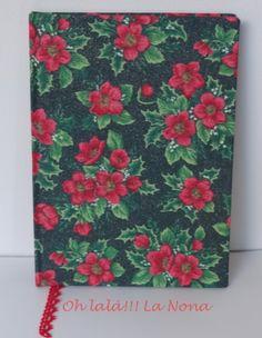 Encuadernación artesanal muy navideño en tela de algodón, cinta de registro de puntilla roja