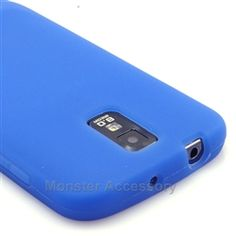 Click Image to Browse: $5.95 Blue Silicone Soft Skin Gel Case Cover For Samsung Galaxy S2 (Hercules T989) T-Mobile