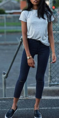fashionable alternative to jeans + pinstriped trousers + simple grey tee + patent leather Adidas flats + Pose & Repeat. Tee: Zara, Shoes: Adidas Originals.Spring.