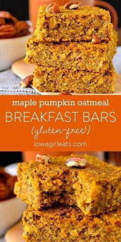 Pumpkin Oatmeal Breakfast Bars Maple Pumpkin Oatmeal Breakfast Bars are a delectable gluten-free breakfast or snack recipe that's flavored with pumpkin pie spice and pure maple syrup. Healthy, easy, and delicious. Gluten Free Recipes For Breakfast, Gluten Free Breakfasts, Dairy Free Recipes, Snack Recipes, Pumpkin Recipes Healthy Easy, Gluten Free Pumpkin Bars, Baked Breakfast Recipes, Oatmeal Recipes, Muffin Recipes
